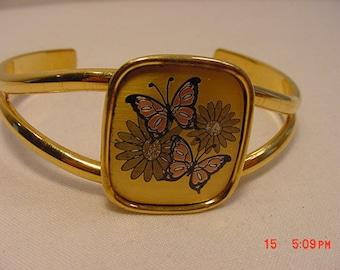 Vintage Reed & Barton Damascene Butterfly Cuff Bracelet  16 - 834