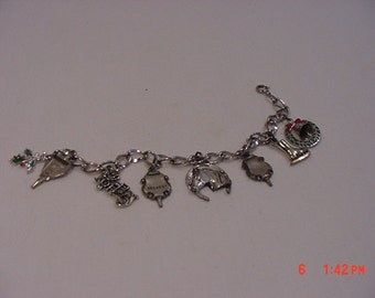 Vintage Signed Beau Sterling Charm Bracelet With 8 Charms  17 - 76