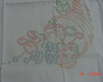 Vintage Fruit Stamped Tablecloth  17 - 196
