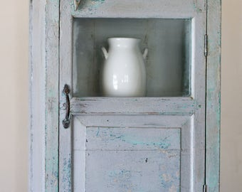Vintage French Blue Cupboard with glass insert door