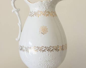 Vintage American Large Ironstone Pitcher with Gold Highlights