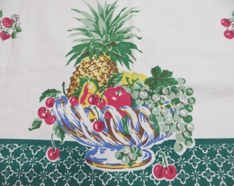 Vintage Startex Tablecloth-FRUIT BASKET-Classic 1950s-Hard To Find Pattern-Fruit-Cherries