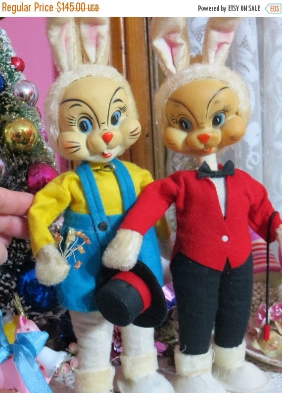 ON SALE Vintage Giant Bunny Elf Couple-Rubber Face-Made in Japan-MINT condition