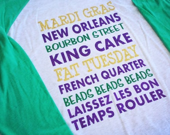 Glitter Mardi Gras Raglan, Mardi Gras Shirt, Mardi Gras List, NOLA Shirt, Mardi Gras Vacation, Mardi Gras Parade, Parade