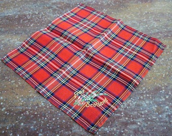 Vintage Ladies Cotton Hankie Handkerchief Frae Scotland Embroidered Tartan Plaid Pattern Souvenir