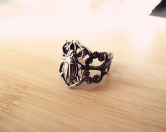 Egyptian Beetle Ring-Aged brass-adjustable-steampunk-Victorian-edgy chic- statement-armor ring V083