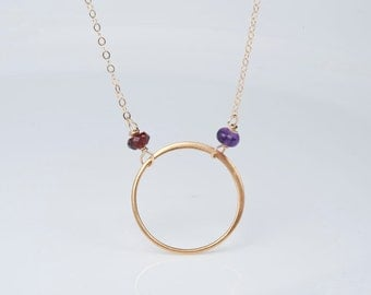 Birthstone circle necklace,Personalized karma circle necklace,custom birthstone necklace,eternity ring necklace,Mother gift,best friend gift