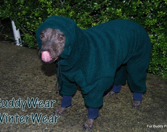 Fleece Body Suit of Polartec 200 with Head Covering Cowl or Turtleneck option for Hairless Terriers, Italian Greyhounds and all small dogs.