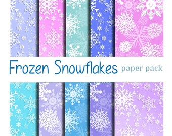 SNOWFLAKE PAPERS  - Snow Flakes Background Texture - Digital Paper Pack -10 Christmas Printable Papers,Instant Download Digital