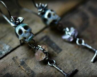 Reserved / Deposit - Día de Muertos - Hand Carved Pearl Skull Long Earrings - Succulent, Cross, Gypsy, Memento Mori, Rocker, Gifts for Her