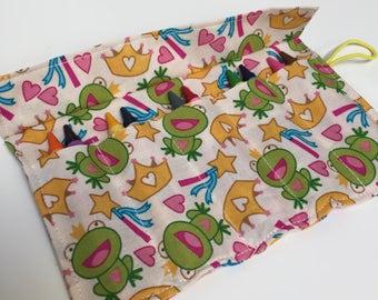 crayon roll with crayons frog princess
