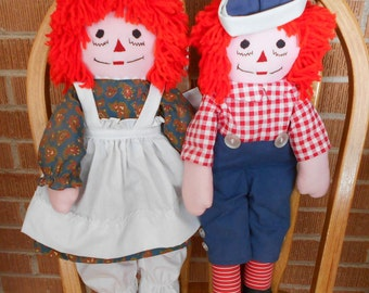 Hand Stitched, Hand Made, Vintage, Raggedy Ann and Andy