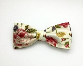 SALE Rose Bow Tie, Floral Bowtie, Mens Bow Tie, Pre tied Bow Tie, Wedding Bow tie, Bowties for Groomsmen Groom