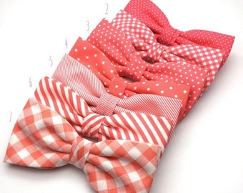 SALE Coral Men Bow Tie Pre Tied BowTie for Wedding groomsmen groom polka Dot spot Striped Checked Men Boy Kid Baby Shower Bow tie Gift for h
