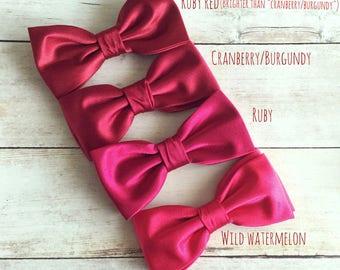 Ruby Red Bow Tie, Cranberry Bowtie, Burgundy Bow Tie, Wild Watermelon Mens Bow Tie, Bow Tie for Wedding, Solid Bowtie, Baby Boy Bow Tie