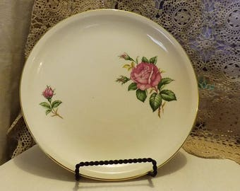 Vintage Paden City Pottery Dinner Plate--Old Rose Pattern