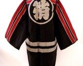 Vintage Japanese Firefighter Coat - Japanese Fireman Jacket - Black and Red Heavy Cotton Kimono Style Hanten Ceremonial Japanese Coat