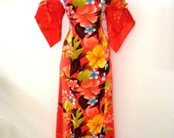 Vintage 60s Kimono Sleeve Hawaiian Maxi Dress - Orange Hawaiian Maxi Muu Muu Dress with Bell Sleeves - Floral Hawaiian - Medium