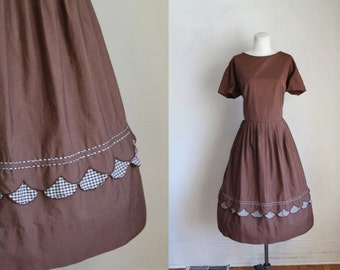 vintage 1950s dress - TRUFFLES chocolate brown gingham dress / L