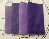 Hand Dyed Felted Wool Bundle, LILACS and LAVENDER, Rug Hooking, Wool Applique, Penny Rugs, Textile Arts Supplies