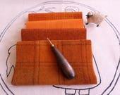 PUMPKIN QUARTET,Hand Dyed Wool Bundle,Rug Hooking,Applique,Fiber Arts,Penny Rugs