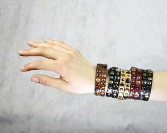 N E W - - Adjustable RETROMODERN leather BRACELET TWO - - must have in 2017 - - in many colors with random rivets