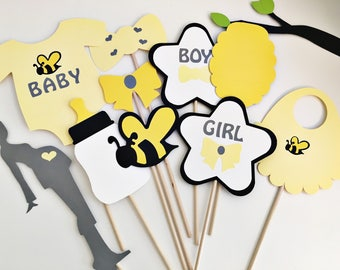 What will baby bee photo props, gender reveal party photo props, baby shower photo props, gender reveal photo booth props