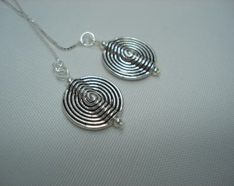 Silver Spiral Discs on Sterling Ear Threads-Threader Earrings-Necklace-FREE SHIPPING To U.S.-