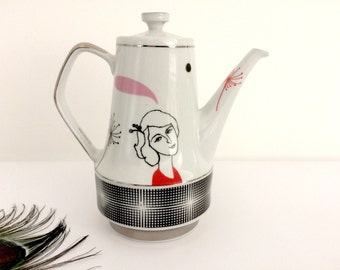 Vintage teapot with French lady Antoinette  #1681
