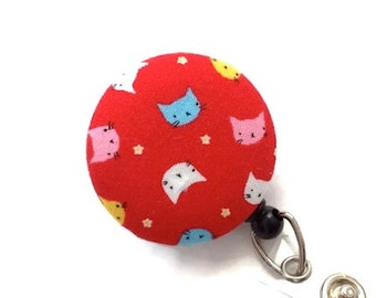 Cats Nurse Badge Reel/Retractable Badge Reel/Badge Reel/Retractable Badge Holder/Id Badge Holder/Badge Pull/Name Badge Clip/Red