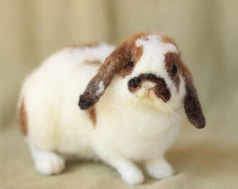 Made to order needle felted lop bunny rabbit, custom made felted animal, memorial of your pet