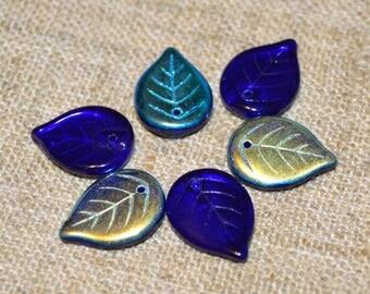 10pcs Light Cobalt AB Leaf Bead 18mm Preciosa Czech Pressed Glass Charm Beads