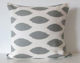 16x16 Gray white linen ink blot throw pillow cover decorative pillow cover