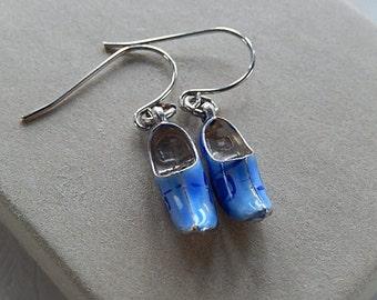 Dutch Shoe Earrings, Blue and White Earrings,  Clog Style Earrings, Pierced Earrings, Gift for Her