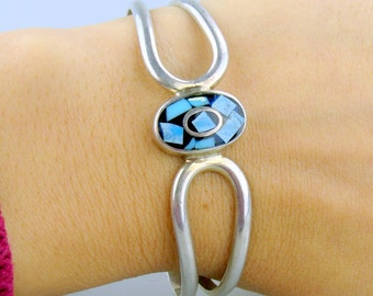 Vintage Sterling Silver and Inlaid Mosaic Turquoise Bracelet