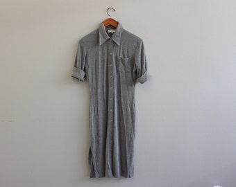 Vintage 90s Short Sleeve Gray button Down Collared Maxi Dress By Bebe