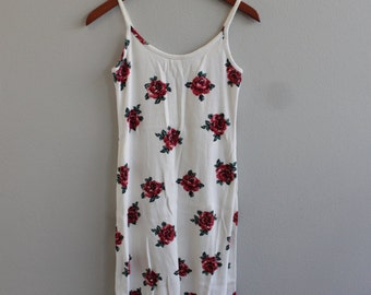 Vintage Ribbed cream Rose Floral dress by Tickets