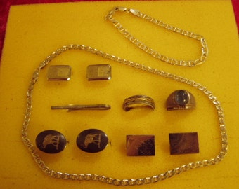 Vintage Mans Sterling Silver Lot Rings Cufflinks Tie Clasp Chain Bracelet Necklace 8861
