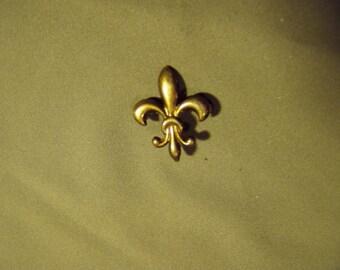 Antique Victorian Sterling Silver Vermeil Ladies Lapel Watch Pin Fleur De Lis Design 9166