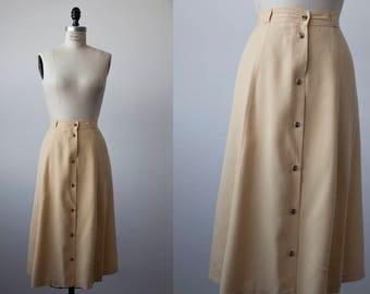 Vtg SILK Flowy Skirt in Chamomile Yellow Midi Length Button Front High Waist L