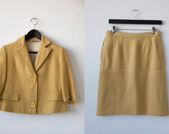 Vtg 60s Two Piece Wool Suit Canary Yellow Mod Fitted Cropped Jacket Pencil Skirt High Waist Mad Men S-M