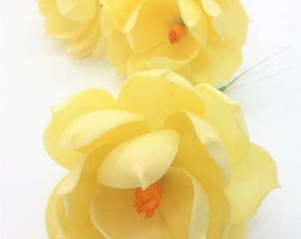6 Ivory Magnolia Polymer Clay Handcrafted Flowers Wedding Gifts
