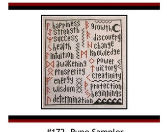 PDF E pattern emailed Rune Sampler Wiccan Cross Stitch Pattern Sampler 172