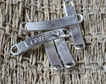 10 pcs Love pendant Connector Charms Antique silver tone, Connector metal finding ,pendant Dangle Connector ,Charm findings bead