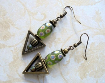 Spotted Olive Green and Brass Triangle Boho Earrings (3435)