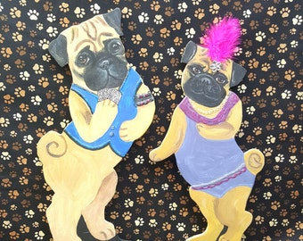 Pug Figurines Vegas Couple Wallhanging by Hot Diggity Dog Fabrics includes both pieces