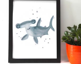 Hammerhead Shark Print Poster Children's Room Art