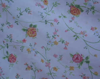 J P Stevens vintage double/full flat sheet floral with white background flowers in pinks, blues, yellows, with green leaves