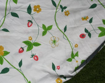 J. P. Stevens vintage 1977 king flat sheet white background with strawberries and flowers blooming on the vine