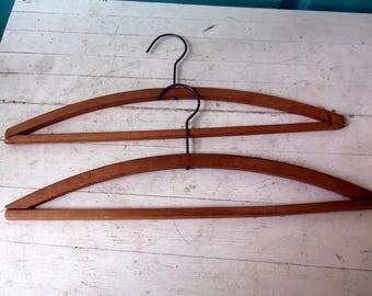 Lot of 2 Vintage Wooden and Metal Coat Hangers or Shirt / Blouse / Dress hangers Racks dry cleaner hangers